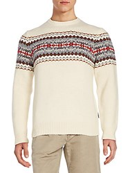 Gant Jacquard Knit Wool Crewneck Sweater Beige
