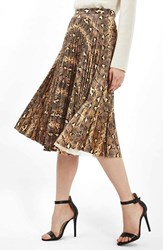 Topshop Women's Snake Print Pleated Midi Skirt