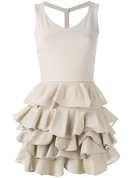 D.Exterior Fitted Ruffle Dress Nude Neutrals