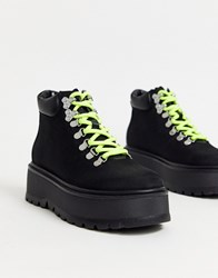 Steve Madden Stomp Flatform Hiker Boots In Black And Neon