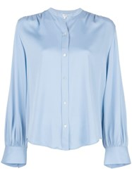 Vince Shirred Back Blouse Blue