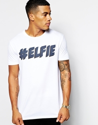Asos T Shirt With Christmas Elfie Print And Relaxed Skater Fit White