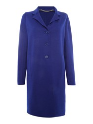 Marella Improbi Double Face Wool Button Up Coat Blue