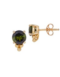 Lord And Taylor Green Tourmaline 14K Yellow Gold Stud Earrings
