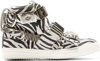 Toga Pulla Black And White Zebra High Top Sneakers