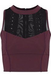 Cushnie Et Ochs Cropped Mesh Paneled Lace Up Stretch Top Burgundy