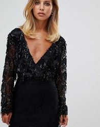 Girl In Mind Long Sleeve Sequin Tassel Body Black