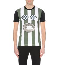 House Of Holland Striped Cotton Jersey T Shirt Green Multi