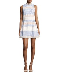 Alexis Minika Embroidered Mock Neck Dress Blue Pattern