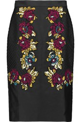 Temperley London Berge Embroidered Satin Skirt Black