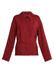 Joseph Point Collar Blouse Burgundy