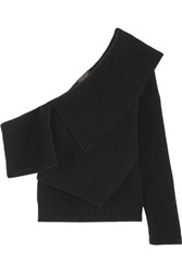 Burberry One Shoulder Ribbed Wool And Cashmere Blend Sweater Black
