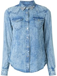 Guild Prime Denim Effect Button Down Shirt Blue
