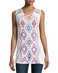 Neiman Marcus Embroidered Lace Up Tank White