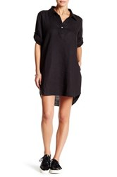 Allen Allen Linen Roll Tab Shirt Dress Petite Black