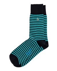 Penguin Colorblock Striped Knit Socks Navy Aqua