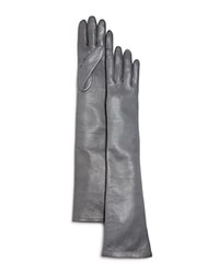 Bloomingdale's Long Leather Gloves Gray
