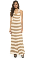 Edith A. Miller Boyfriend Maxi Dress Tan Natural Wide Stripe