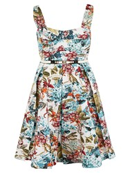 Chesca Floral Print Sateen Belted Dress Multi