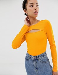 Dr. Denim Dr Ribbed Top With Exposed Detail Orange