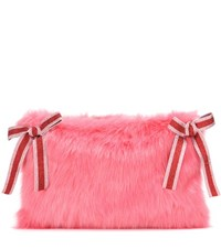 Shrimps Catherine Faux Fur Clutch Pink