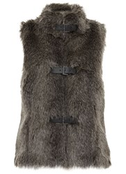Mint Velvet Charcoal Faux Fur Buckle Gilet Grey