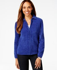 Alfred Dunner Zip Front Cable Knit Sweater Cobalt