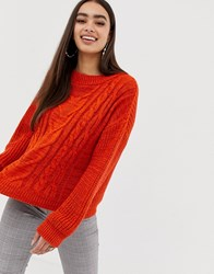 Missguided Cable Knit Jumper In Orange Brown