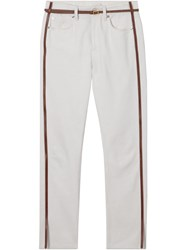 Burberry Straight Fit Leather Harness Detail Jeans White