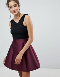 Ax Paris Cross Front Dress With Contrast Skirt Black