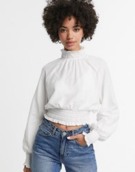 Monki Ruched Neck Long Sleeve Top In Off White