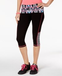 Material Girl Active Juniors' Cropped Printed Leggings Only At Macy's Spliced Floral