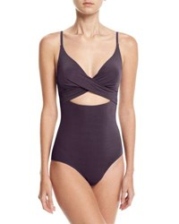 Jets By Jessika Allen Crossover V Neck One Piece Swimsuit Purple