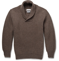 Richard James Knitted Wool Shawl Collar Sweater Brown