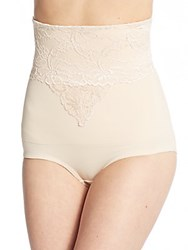Joan Vass Lace Trim Control Top Shaping Panty Nude