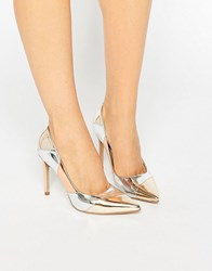 Dune Azzra Metallic Patchwork Point Court Shoes Multi Metallic