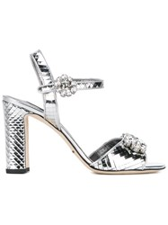 Dolce And Gabbana Mirrored Embellished Sandals Metallic