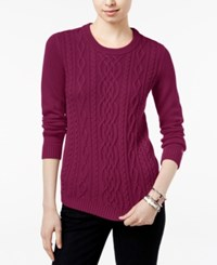 Tommy Hilfiger Lucy Cable Knit Sweater Red Plum Heather