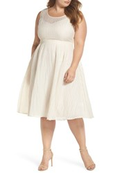 Elvi Plus Size The Evelyn Textured Midi Dress Cream