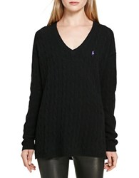 Polo Ralph Lauren Cable Wool Cashmere Sweater Polo Black