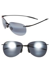 Women's Maui Jim 'Sugar Beach Polarizedplus2' 62Mm Rimless Sunglasses Gloss Black Neutral Grey