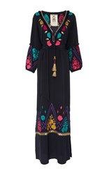 Figue Lola Embroidered Midnight Maxi Dress Navy