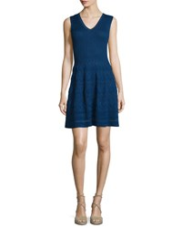 M Missoni V Neck Knit Sleeveless Dress Marine