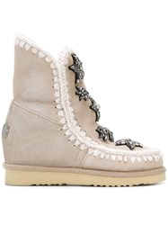 Mou Inner Wedge Short Boots Nude And Neutrals