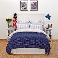 Lexington Icons American Country Pinpoint Check Duvet Cover Navy Super King