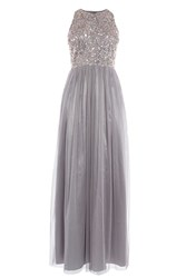 Coast Ru Sequin Tulle Prom Dress Silver