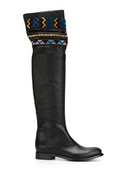 Ermanno Scervino Embellished Over Knee Boots Black