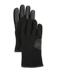 Ugg Fabric And Leather Touchscreen Gloves Black