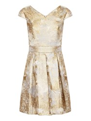Yumi Gold Foil Print Party Dres Yellow