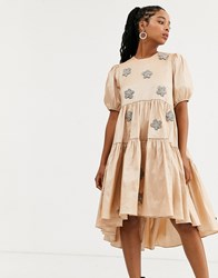 Sister Jane Dream Tiered Midaxi Dress With Puff Sleeves And Embellished Flowers In Taffeta Pink